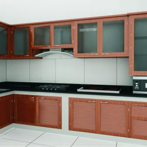 tủ bếp nhôm kính vân gỗ